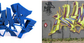 A gauche l'impression 3D, à droite le grafiti original