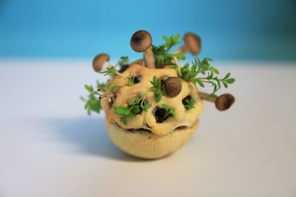 Graines imbriquées dans une réalisation 3D comestible